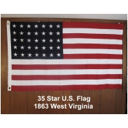 35 Star U.S. Flag West Virginia1863-Linear