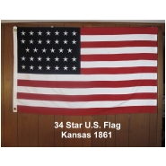34 Star U.S. Flag Kansas 1861-linear